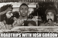 Breaking: Cleveland Browns WR Josh Gordon has FAILED another drug test and will be subject to a one-year suspension: ONFLMemes4 You  ROADTRIPSWITHAJOSHIGORDON Breaking: Cleveland Browns WR Josh Gordon has FAILED another drug test and will be subject to a one-year suspension