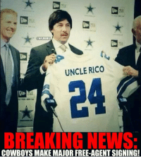 Dallas Cowboys SIGN Uncle Rio! Credit: Trevor Cravy: ONFLMEMEZ  UNCLE RICO  BREAKING NEWS  COWBOYS MAKE MAJOR FREE-AGENTSIGNING! Dallas Cowboys SIGN Uncle Rio! Credit: Trevor Cravy