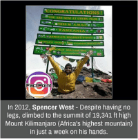 Follow our page for more Facts 😇 Don't forget to tag your friends 💖: ONGRA  YOU ARE NOW AT UHURU  PEAK  TANZANIA  ERICA's HIGHEST POINT  STANDING MSOUNTA  Fact Point  In 2012, Spencer West Despite having no  legs, climbed to the summit of 19,341 ft high  Mount Kilimanjaro (Africa's highest mountain)  in just a week on his hands Follow our page for more Facts 😇 Don't forget to tag your friends 💖