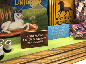 Found in one of those quirky knick-knack stores: ONICORN  A Magical Parody  DON'T BELIEVE  IN YOU EITHER  QU  By Pearl E. Horne  HE SAID WAS  DELUSIONAL,  I NEARLY FELL OFF  MY UNICORN  lilustrated by  Kendra Spanjer  UtieoRK  I'M NOT ALWAYS  CAICKT  $6.4a  A BITCH, SOMETIMES  I'M A UNICORN  $620  TOOR Found in one of those quirky knick-knack stores