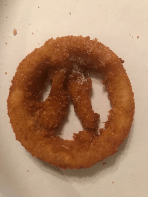 Onion ring shaped like the Overwatch symbol: Onion ring shaped like the Overwatch symbol