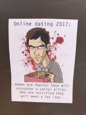 Online Dating in 2017: Online dating 2017:  Women are fearful they wil1  encounter a serial killer.  Men are terrified they  wi11 meet a fat 1ady. Online Dating in 2017