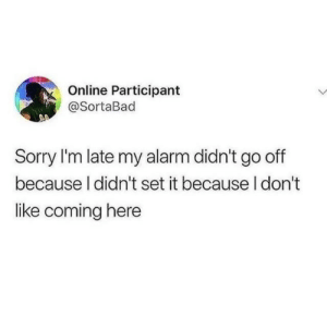 Sorry, Alarm, and Online: Online Participant  @SortaBad  Sorry I'm late my alarm didn't go off  because I didn't set it because I don't  like coming here