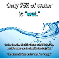 """Is Water Wet: Only 75% of Water  is """"wet.""""  On the Douglas Liquidity Scale. Only  of all the  world's water can be classified as truly wet  The other 25%falls under hard or rough"""