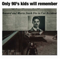 ~Deadpool: Only 90's kids will remember  Howard and Maria Stark Die in Car Accident  ME 7:02  EC. 16 1991 ~Deadpool