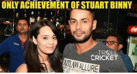 Memes, Troll, and Cricket: ONLY ACHIEVEMENT OF STUART BINNY  , TROLL.  CRICKET  WMAW ALLURE Pathetic performance continues for Binny   <mad>