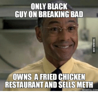 Black Guy: ONLY BLACK  GUY ON BREAKING BAD  OWNS A FRIED CHICKEN  RESTAURANT AND SELLS METH  MEMEFUL.COM
