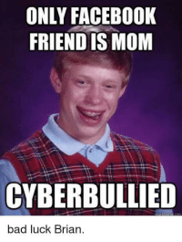 ONLY FACEBOOK  FRIEND IS MOM  CYBERBULLIED  bad luck Brian.