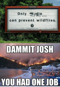 Funny, Quotes, and Job: Only H  can prevent wildfires.  YOUR A ME HERE  DAMMIT JOSH  YOU HAD ONE JOB 38 Funny Quotes Laughing So Hard 12