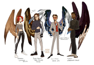 Target, Tumblr, and Blog: ONLY HAS  ONE:  AFGANISTAN)  RHYME  NATASHA  JAMES BARNS  RED TAILED  HAWK  TONY STARK  BLUE 3A  TCHALLA  VEeREAuxS EAGLE  CoMMoN  SwIFT rhymewithrachel:  rhymewithrachel: idk,, bird wing au