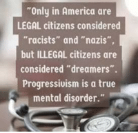 "Democrats should rethink their tactics.: Only in America are  LEGAL citizens considered  ""racists"" and ""nazis""  but ILLEGAL citizens are  considered ""dreamers"".  Progressivism is a true  mental disorder."" Democrats should rethink their tactics."
