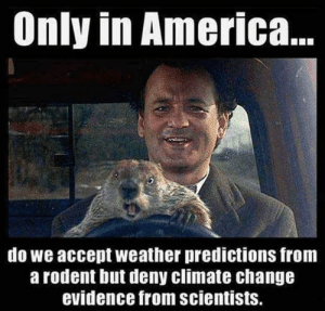 Happy Groundhog Day by TROPICALCYCLONEALERT FOLLOW 4 MORE MEMES.: Only in America..  do we accept weather predictions from  a rodent but deny climate change  evidence from scientists. Happy Groundhog Day by TROPICALCYCLONEALERT FOLLOW 4 MORE MEMES.