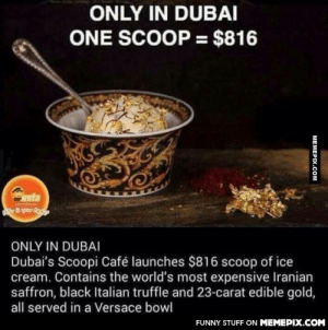 800 dollars ice cream in Dubai.omg-humor.tumblr.com: ONLY IN DUBAI  ONE SCOOP = $816  mr ista  anhg  ONLY IN DUBAI  Dubai's Scoopi Café launches $816 scoop of ice  cream. Contains the world's most expensive Iranian  saffron, black Italian truffle and 23-carat edible gold,  all served in a Versace bowl  FUNNY STUFF ON MEMEPIX.COM  MEMEPIX.COM 800 dollars ice cream in Dubai.omg-humor.tumblr.com