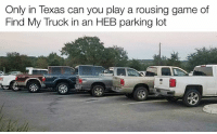 Texans, Texas, and Texan: Only in Texas can you play a rousing game of  Find My Truck in an HEB parking lot Texans ❤️ trucks.