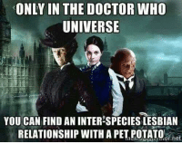 Doctor Who: ONLY IN THE DOCTOR WHO  UNIVERSIE  YOU CAN FIND AN INTER-SPECIES LESBIAN  RELATIONSHIP WITH A PET POTATo het  -h.or.net  or.het