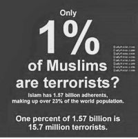 America, Funny, and Instagram: Only  of Muslims  are terrorists?  Islam has 1.57 billion adherents,  making up over 23% of the world population.  One percent of 1.57 billion is  15.7 million terrorists. Some stats. 🔴www.TooSavageForDemocrats.com🔴 JOINT INSTAGRAM: @rightwingsavages Partners: 🇺🇸👍: @The_Typical_Liberal 🇺🇸💪@theunapologeticpatriot 🇺🇸 @DylansDailyShow 🇺🇸 @keepamerica.usa 🇺🇸@Raised_Right_ 🇺🇸@conservative.female 😈 @too_savage_for_liberals 💪 @RightWingRoast 🇺🇸 @Conservative.American 🇺🇸 @Trumpmemz DonaldTrump Trump HillaryClinton MakeAmericaGreatAgain Conservative Republican Liberal Democrat Ccw247 MAGA Politics LiberalLogic Savage TooSavageForDemocrats Instagram Merica America PresidentTrump Funny True sotrue