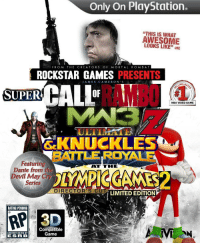 "Dank, Meme, and Mortal Kombat: Only On PlayStation.  ""THIS IS WHAT  AWESOME  LOOKS LIKE""-ME  FROM THE CREATORS OF MORTAL KOMBAT  ROCKSTAR GAMES PRESENTS  AMES CAMERON'S  RAMBO  SUPER  OF  NBA VIDEO GAME  ULTIMA  SKNUCKLES  BATTLE ROYALE  廎.  Featuring  Dante from the  Devil May Cry  Series  ATTHE  DIRECTOR'S CU  LIMITED EDITION  RATING PENDING  RP  Compatible  Game  CONTENT RATED BY  ESRB <p>8/8 ign via /r/dank_meme <a href=""http://ift.tt/1YP4jMT"">http://ift.tt/1YP4jMT</a></p>"