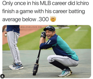 Mlb, Game, and Amazing: Only once in his MLB career did Ichiro  finish a game with his career batting  average below.300  @GLOVELOVE.CO Ichiro was AMAZING  h/t @glovelove.co
