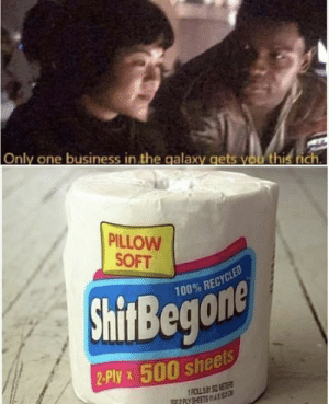 .: Only one business in the galaxy gets you this rich  PILLOW  SOFT  100% RECYCLED  ShitBegone  2-Ply x 500 sheels  1ROLL S B SQ METS  592 PLY SHEETS 2 .