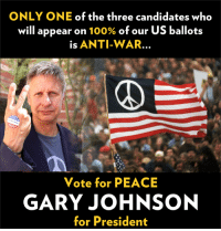 Facts, Memes, and Party: ONLY ONE of the three candidates who  will appear on  100% of our US ballots  is ANTI-WAR.  Vote for PEACE  GARY JOHNSON  for President There is only one #PEACE candidate on 100% of the nation's ballots ---> Gov. Gary Johnson.  Election 2016 fact:  this is the first time in 20 years that a third party candidate has appeared on 100% of the nation's ballots.    #VoteLibertarian