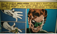 Desperate, Arrow, and Amazing: ONLY THE AMAZING GREEN ARROW COULD SEND A SHAFT S0 UN-  ERRINGLY, AT PRECISELY THE CORRECT SPEED, TO A COMPANION'S  DESPERATE GRASP.. A SHAFT BEARING SALVATOİ IN THE FORM  OF A RIMG Fear the shaft of the amazing Green Arrow