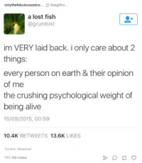 the crush: only thefabulousunico  its agifno  a lost fish  @grumbist  im VERY laid back. i only care about 2  things:  every person on earth & their opinion  of me  the crushing psychological weight of  being alive  15/09/2015, 00:59  10.4K  RETWEETS  13.6K  LIKES  Source: okaymad  117,102 notes