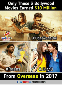 Movies, Tiger, and Bollywood: Only These 3 Bollywood  Movies Earned $10 Million  #Tiger-indakiai  LAUGHINO  #Raees  #JHMS  From Overseas In 2017  fyaughingcolours