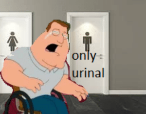 Joe, Can, and Stand: only  urinal Joe Swanson can't use urinals because he can not stand?