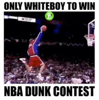 Bunnies, Dunk, and Memes: ONLY WHITEBOY TO WIN  NBA DUNK CONTEST Brent Barry is the only white person to win an Nba Dunk Contest😦🔥 Bunnies - @prosb4pros - Tag a Friend! - Follow (ME) @overtimeplayz for more!