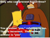 "Memes, 🤖, and Forest: Only who can prevent forest fires?  You pressed ""you,"" referring to me.  YOU  That is incorrect. The corr  ME  ans  er is you ""Mountain of Madness""  (S8E12)"