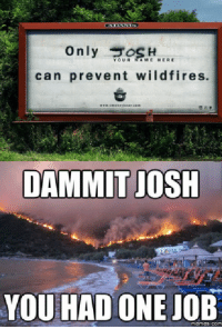 One Job: only  YOUR AME HERE  can prevent wildfires.  DAMMIT JOSH  YOU HAD ONE JOB  memes. COM