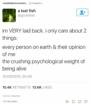 Me irl: onlythefabulousunico... itsagifno...  a lost fish  @grumbist  im VERY laid back. i only care about 2  things:  every person on earth & their opinion  of me  the crushing psychological weight of  being alive  15/09/2015, 00:59  10.4K RETWEETS 13.6K LIKES  Source: okaymad  117,102 notes Me irl