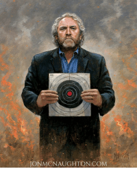 "Memes, Target, and Ignition: ONMONAUGHTON COM ***New McNaughton Painting*** My new painting titled, ""Andrew Breitbart - No Fear.""  Standing in a war zone as the fires ignite around him, conservative activist Andrew Breitbart calmly holds up a pistol target. He's not afraid to stand up for what he believes, regardless of the cost!   Andrew mysteriously died March 1, 2012, just three weeks before he promised to unveil ""damning"" new video evidence of Barack Obama's radical past that would change the election. Many believed his death was not a simple heart attack as the press reported; the questionable events and evidence pointed to the unthinkable.  Are you willing to engage the liars, crooks, and government elites that are destroying America? WILL YOU support those who will speak out against fraud, cronyism, globalism, and corruption?   I am a conservative artist who values truth, action, and political incorrectness. Andrew Breitbart is an icon for the American patriot who will not turn away from The Truth.  Available at: http://tinyurl.com/h2tcv7l  Breitbart"