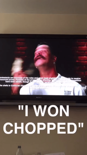 """dippergoestotacobell: """"I WON CHOPPED"""" he says as the camera zooms in on the cutthroat kitchen logo : ontestants are Informed of the rules  nounced prizes, Portions of the  have been edited, though  he chefs in Cutthroat K  """"I WON  CHOPPED"""" dippergoestotacobell: """"I WON CHOPPED"""" he says as the camera zooms in on the cutthroat kitchen logo"""