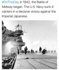 75 years ago today! Follow @todayinamericanhistory for more...🇺🇸:  #OnThis Day in 1942, the Battle of  Midway began. The U.S. Navy sunk 4  carriers in a decisive victory against the  Imperial Japanese 75 years ago today! Follow @todayinamericanhistory for more...🇺🇸