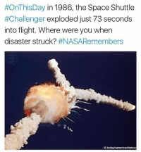 It is estimated that roughly 20% of the American population watched the events unfold on live television. This was partly due to the presence of payload specialist Christa McAuliffe, who would have been the first teacher-private citizen in space. The disaster lead to the deaths of all seven crew members. We remember those who were lost 31 years ago today. Credit: @todayinamericanhistory:  #OnThis Day in 1986, the Space Shuttle  #Challenger exploded just 73 seconds  into flight. Where were you when  disaster struck?  #NASA Remembers  IG today inamericanhistory It is estimated that roughly 20% of the American population watched the events unfold on live television. This was partly due to the presence of payload specialist Christa McAuliffe, who would have been the first teacher-private citizen in space. The disaster lead to the deaths of all seven crew members. We remember those who were lost 31 years ago today. Credit: @todayinamericanhistory