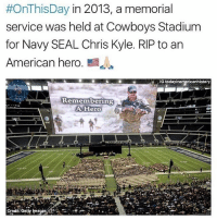 """RIP to The Legend 🇺🇸🙏🏻❤️ - Following the service, there was a funeral procession that stretched more than 200 miles. Hundreds of people lined Interstate 35 in order to pay their final respects to Kyle. The final stop of the procession was Texas State Cemetery in Austin where Kyle was buried. If you saw the movie American Sniper, you saw that the film did not include the fatal day at the gun range. This was done for the sake of Kyle's two children. Director Clint Eastwood later told PEOPLE, """"For me, I didn't want this movie hanging over [Taya's] kids' heads for the rest of their lives."""" RIP Chris Kyle - Navy SEAL, Husband, Father. Credit: @todayinamericanhistory:  #OnThisDay in 2013, a memorial  service was held at Cowboys Stadium  for Navy SEAL Chris Kyle. RIP to an  American hero  E  G todayinamericanhistory  Remembering  A Hero  Credit Getty mages RIP to The Legend 🇺🇸🙏🏻❤️ - Following the service, there was a funeral procession that stretched more than 200 miles. Hundreds of people lined Interstate 35 in order to pay their final respects to Kyle. The final stop of the procession was Texas State Cemetery in Austin where Kyle was buried. If you saw the movie American Sniper, you saw that the film did not include the fatal day at the gun range. This was done for the sake of Kyle's two children. Director Clint Eastwood later told PEOPLE, """"For me, I didn't want this movie hanging over [Taya's] kids' heads for the rest of their lives."""" RIP Chris Kyle - Navy SEAL, Husband, Father. Credit: @todayinamericanhistory"""