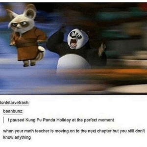 Teacher, Panda, and Math: ontstarvetrash:  beanbunz:  I paused Kung Fu Panda Holiday at the perfect moment  when your math teacher is moving on to the next chapter but you still don't  know anything