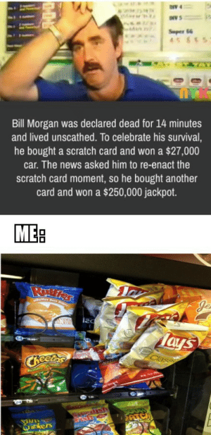 And the rest of the redditors by brockomaba MORE MEMES: ONV 4  Super 66  45 85  Bill Morgan was declared dead for 14 minutes  and lived unscathed. To celebrate his survival,  he bought a scratch card and won a $27,000  car. The news asked him to re-enact the  scratch card moment, so he bought another  card and won a $250,000 jackpot.  MEB  es Rare Rdger  EDD  Tays  Class  CReetas  edisth  ATC  Qrackers And the rest of the redditors by brockomaba MORE MEMES