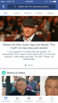 "News, Videos, and At&t: oO AT&T  6:10 PM  Q  robert de niro vaccines autism  Top  Latest Photos Videos Pages  FRED DUVAL/FILMMAGIC/GETTAG  Robert De Niro: Actor Says He Wants ""The  Truth"" on Vaccines and Autism  ""I, as a parent of a child who has autism, I'm  concerned. And I want to know the truth. I'm not anti-  vaccine. I want safe vaccines,"" he told ""Today"" on  Wednesday  Share  Photos & Videos  News Feed  Requests  Messenger Notifications  More <p>You've been told ""the truth"". Multiple times by multiple people who have spent multiple years studying such things. But please, what we really need is more dipshit celebrities who don't know anything weighing in on this ""controversial"" subject 🙄</p>"