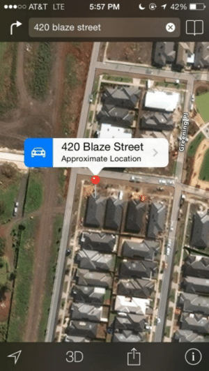 Tumblr, At&t, and Blaze: oo AT&T LTE  5:57 PM  1@142 % ■  420 blaze street  420 Blaze Street  Approximate Location  3D memehumor:  Um, what's at that location?