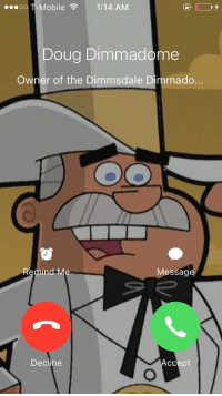 RT if you would answer.....  🙏🏻 https://t.co/BxQOVxaN0Z: ...oo Mobile  1:14 AM  Doug Dimmadome  Owner of the Dimmsdale Dimmado.  Remind Me  Message  Decline  ccept RT if you would answer.....  🙏🏻 https://t.co/BxQOVxaN0Z