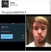 Dank, Funny, and Meme: OO  @PZCoop  You guys asked for it  Coop  should i shave  50%  es  50%  22 votes. Final results Wiz Khalifa👌🏻 * 😏Follow if you're new😏 * 👇Tag some homies👇 * ❤Leave a like for Dank Memes❤ * Second meme acc: @cptmemes * Don't mind these 👇👇 Memes DankMemes Videos DankVideos RelatableMemes RelatableVideos Funny FunnyMemes memesdailybestmemesdaily gta Codmemes roblox robloxmemes Meme InfiniteWarfare Gaming gta5 bo2 IW mw2 Xbox Ps4 Psn Games VideoGames Comedy Treyarch sidemen sdmn