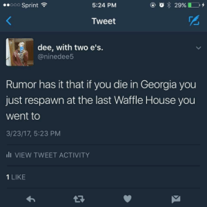 The load times probably explain why it takes the food so long to come out: oo Sprint  5:24 PM  o29%  Tweet  dee, with two e's  @ninedee5  Rumor has it that if you die in Georgia you  just respawn at the last Waffle House you  went to  3/23/17, 5:23 PM  lI VIEW TWEET ACTIVITY  1 LIKE The load times probably explain why it takes the food so long to come out