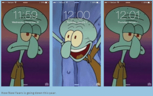 Meirl: oo Verion  oo Verizon  oVerron  S0%  50%  12:01  11:59  12:00  Thursday. January 1  Wednesday, December 31  *Thursday January 1  How New Years is going down this year. Meirl