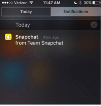 The only person snapping me during the holidays.: OO Verizon 11:47 AM  30% I  Today  Notifications  Today  Snapchat 46m ago  from Team Snapchat The only person snapping me during the holidays.