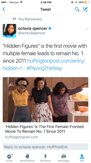 "abbiehollowdays: shellamathebama:   abbiehollowdays:   Octavia Spencer tweet:  'Hidden Figures' Is The First Female-Fronted Movie to Remain No. 1 Since 2011  Huffpo link: http://bit.ly/2iywGTk   Why haven't I seen those ""mainstream feminist"" websites promoting this? Since, you know, they're about ""all women""   YouKnowWhy.gif : oo Verizon  3:38 PM  38%.  Tweet  You Retweeted  octavia spencer  @octaviaspencer  ""Hidden Figures"" is the first movie with  multiple female leads to remain No. 1  since 2011 huffingtonpost.com/entry/  hidden-f #PavingTheWay  Hidden Figures' Is The First Female-Fronted  Movie To Remain No. 1 Since 2011  huffingtonpost.com  Reply to octavia spencer, HuffPostEnt  Home  Notifications  Moments  Messages  Me abbiehollowdays: shellamathebama:   abbiehollowdays:   Octavia Spencer tweet:  'Hidden Figures' Is The First Female-Fronted Movie to Remain No. 1 Since 2011  Huffpo link: http://bit.ly/2iywGTk   Why haven't I seen those ""mainstream feminist"" websites promoting this? Since, you know, they're about ""all women""   YouKnowWhy.gif"