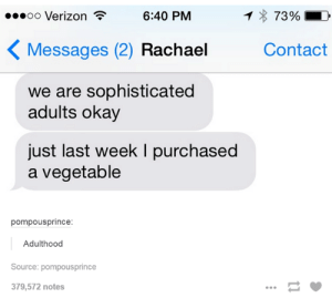 Verizon, Okay, and Source: oo Verizon  6:40 PM  73%.  Messages (2) Rachael  Contact  we are sophisticated  adults okay  just last week I purchased  a vegetable  pompousprince  Adulthood  Source: pompousprince  379,572 notes when im expected to adult every day