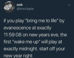 "Dank, Evanescence, and Life: oob  @tmcripple  if you play ""bring me to life"" by  evanescence at exactly  11:59:08 on new years evE, the  first ""wake me up"" will play at  exactly midnight. start off your  new year right meirl by Trzor FOLLOW 4 MORE MEMES."
