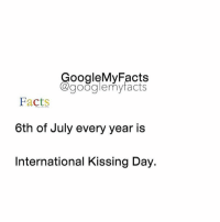 Tag friends 🙂: oogleMy Facts  google my facts  Facts  6th of July every year is  International Kissing Day. Tag friends 🙂